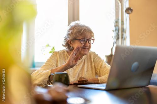 Fototapeta Happy senior woman using laptop at home