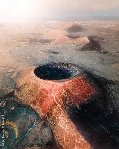 Aerial view of Calderon Hondo, a volcano in a vast desert valley near La Oliva on Canary Islands, Spain. Fototapete