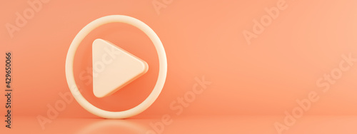 Fotografie, Obraz media icon over pink background, play 3d render, panoramic image