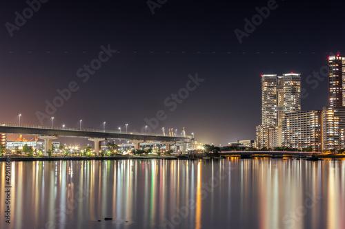Fototapeta 福岡市の海辺の夜景