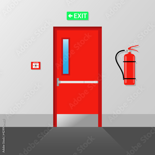 Slika na platnu Fire emergency Exit Door Fire exit Emergency fire exit door