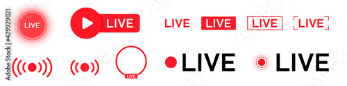 Obraz na plátně Set of isolated icons for streaming, live broadcast, blog, television, shows, live performances, news and various video content
