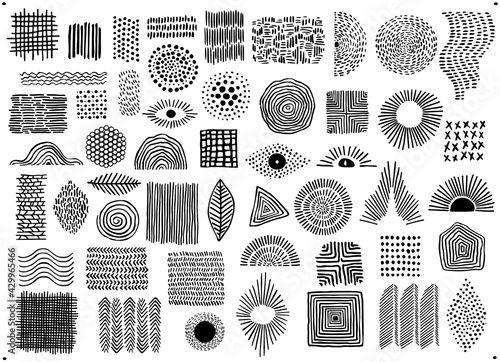 Fotografia abstract black color geometric dot  line and curves art shapes and forms, spotte