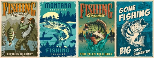 Fotografia Fishing vintage colorful posters set