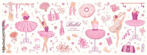 Fotografiet Hand drawn sketch ballet set. Vector illustration