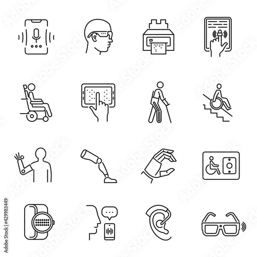 Foto Technology for disabled set monochrome line icon vector illustration