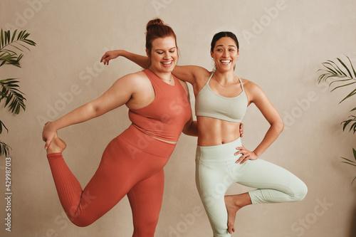 Slika na platnu Two women exercising together at health club