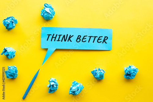Wallpaper Mural Think better Idea and creativity concepts with text on bubble paper and paper crumpled ball
