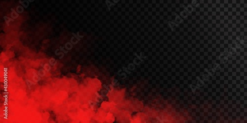 Fotografie, Tablou Vector realistic isolated Red Smoke effect for decoration and covering on the transparent background