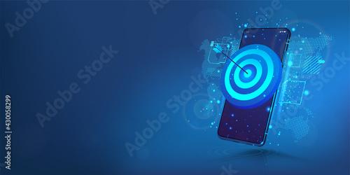 Slika na platnu Darts target on smartphone display