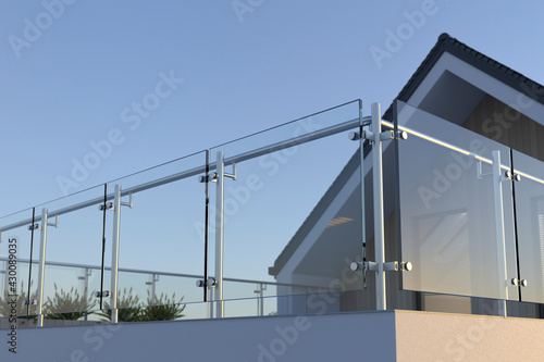 Fotografiet Modern stainless steel railing with glass panel and house, 3D illustration