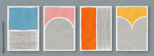 Set of minimal geometric posters. Mid-Century Modern Art with Watercolor Shapes. Trendy artistic abstract background.