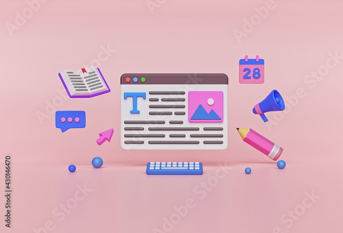 Fotografia Content writer, Blog articles creation, freelance work concept