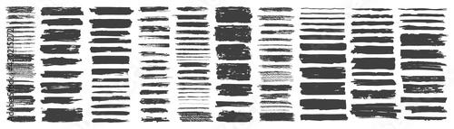 Fotografia Set of hand drawn grunge black brush strokes, isolated on white background