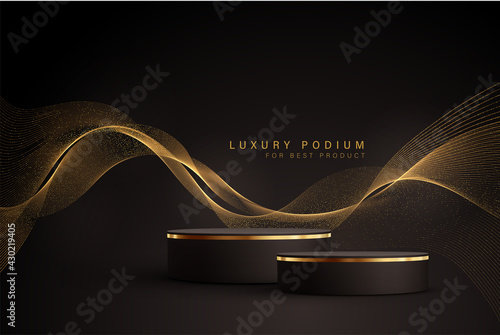 Minimal black scene with golden lines. Cylindrical gold and black podium on a black background. 3D stage for displaying a cosmetic product