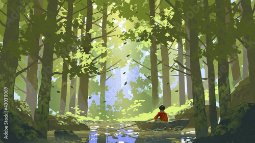 boy rowing a boat in a river through the forest, digital art style, illustration painting