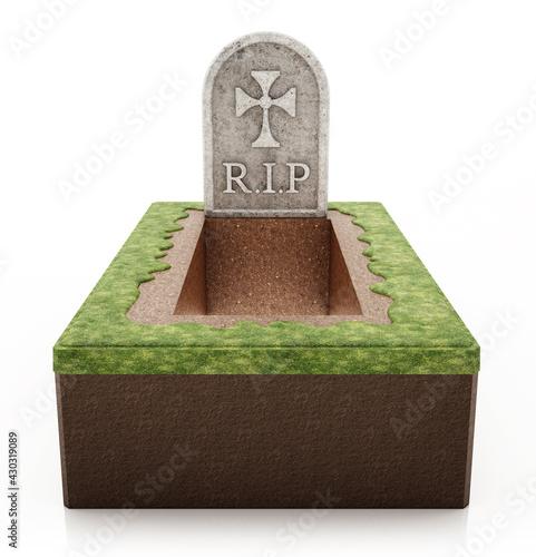 Obraz na plátně Open grave with gravestone isolated on white background