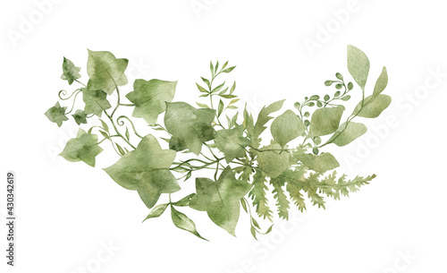 Canvas Print Watercolor green leaves, eucalyptus, ivy, fern, branches,  summer flora