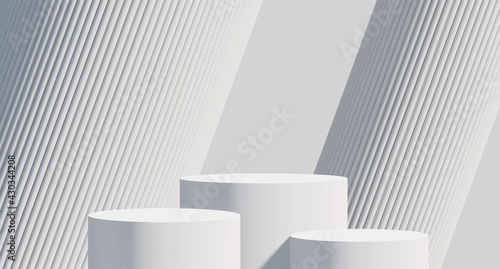 3D rendered podium for your product showcase. Blank Vector 3d illustration.