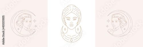 Canvastavla Linear design of emblems with ancient goddesses