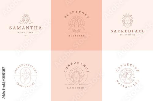Fototapeta Feminine logos emblems design templates set with magic female vector illustratio