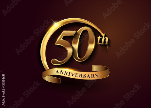 50th golden anniversary logo with gold ring and golden ribbon, vector design for birthday celebration, invitation card Fototapet