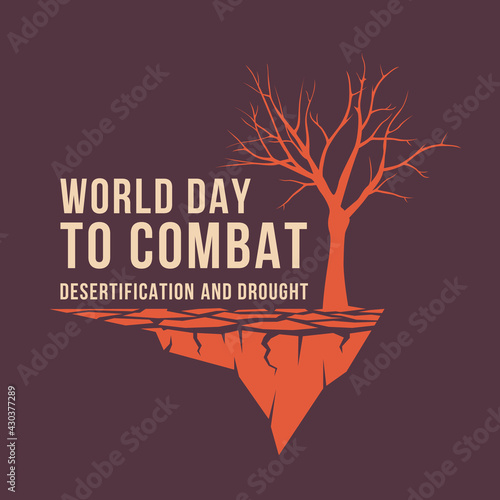 Slika na platnu World Day to Combat Desertification and Drought banner with text and dry tree on