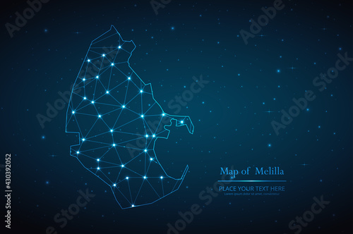 Abstract map of Melilla geometric mesh polygonal network line, structure and point scales on dark background. Vector illustration eps 10