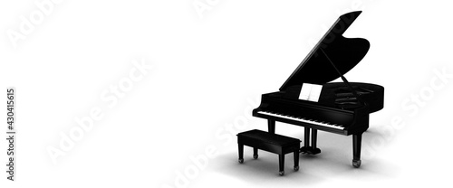 Foto Black grand piano on a white background panoramic 3d render