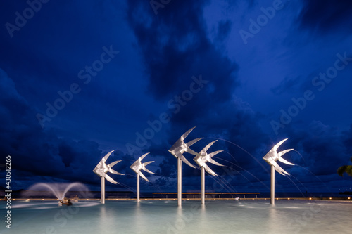 Canvas The Cairns Lagoon swimming pool in Tropical North Queensland at sunset