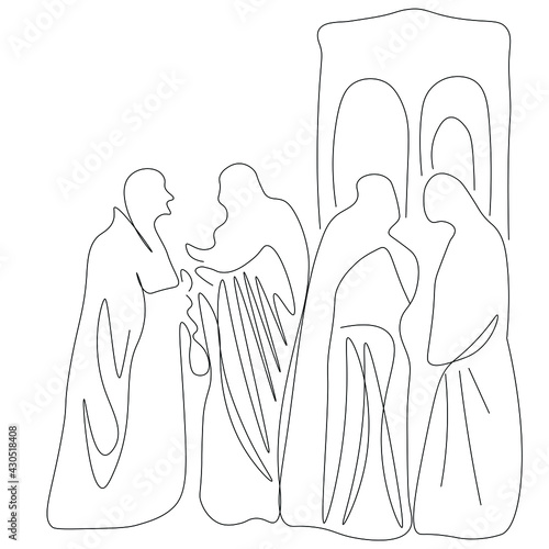 Fototapeta Judas iscariot receiving the thirty pieces of silver story line drawing vector i