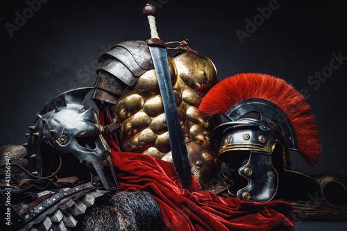 Fototapeta Ancient rome warrior and gladiator armor and sword