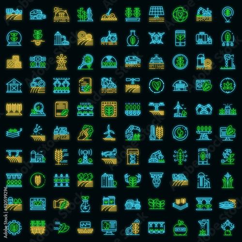 Carta da parati Farming robot icons set