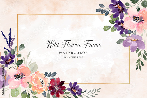 Watercolor flower frame. Colorful wildflowers background