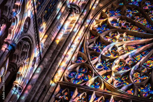 Fototapeta Stained glasses and light in cathedral Saint Vincent  in  Saint-Malo