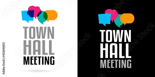 Foto Town hall meeting on speech bubble