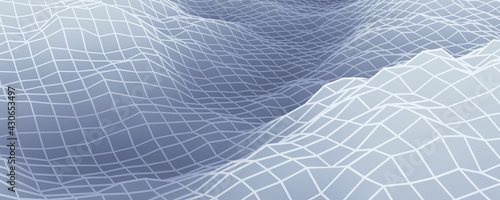 Canvas-taulu 3D rendered gray topographic mountain grid.