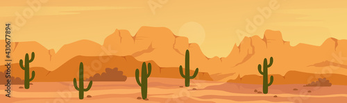 Fotografia Mexican Texas or Arisona desert nature wide panorama prairie scene landscape vector illustration