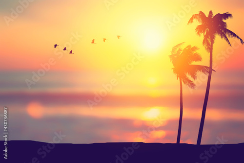 Canvas-taulu Silhouette palm tree at tropical beach with birds flying on sunset sky abstract background