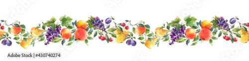 Stampa su Tela Beautiful horizontal seamless pattern with hand drawn watercolor tasty summer pear apple grape cherry plum fruits