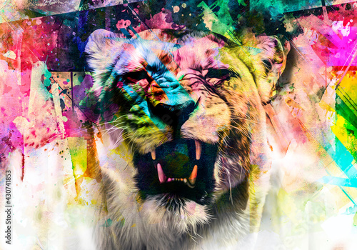 Fotografia lioness head with creative colorful abstract elements on dark background