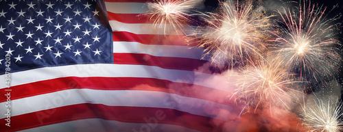 Fotografia American flag and fireworks, banner design
