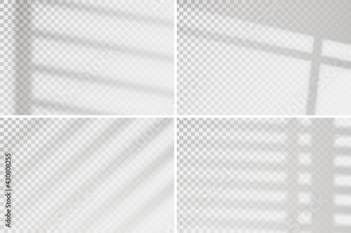 Overlay window effect on transparent background. Set of four scenes of natural lighting. Minimalistic window frames blurred banner mockup