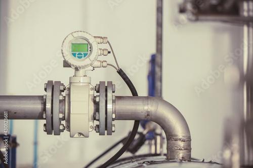 Billede på lærred Industry heat pipe digital display gauge sensors measure pressure boiler temperature thermostat used in factory