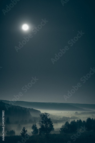 Tablou Canvas Forested hills in fog with the full moon in the starry sky at night time