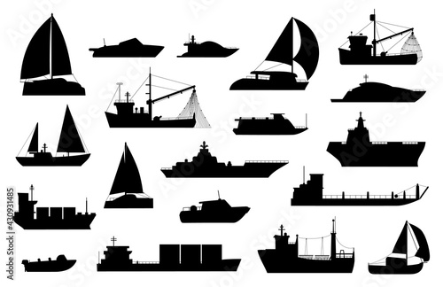 Canvas Print Boats silhouette