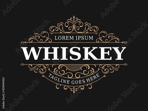Fotografia Whiskey label vintage luxury ornamental logo