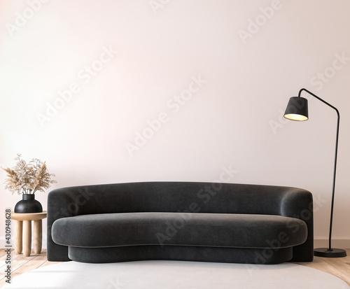Modern living room mockup, black minimal sofa on empty wall background, 3d render