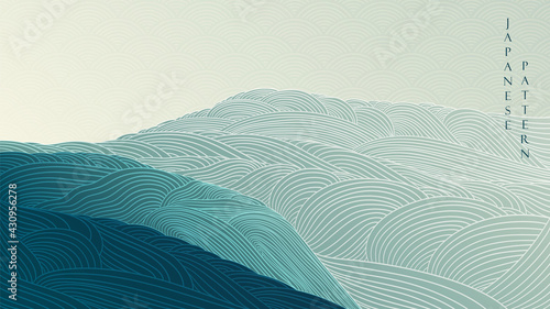 Abstract landscape background with Japanese wave pattern vector. Mountain forest texture banner with line art in vintage style.