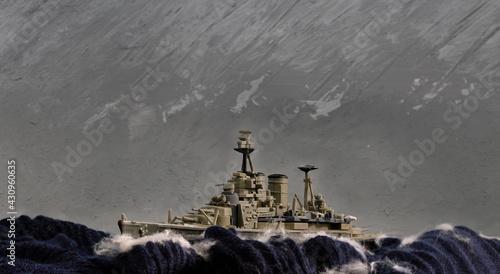 Fotografia Scale model diorama of a British WW battleship